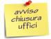 Chiusura uffici comunali al pubblico